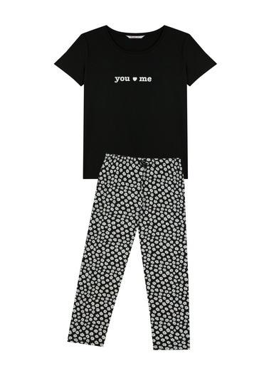 Penti Siyah You And Me Ss Kapri Pijama Takımı Siyah